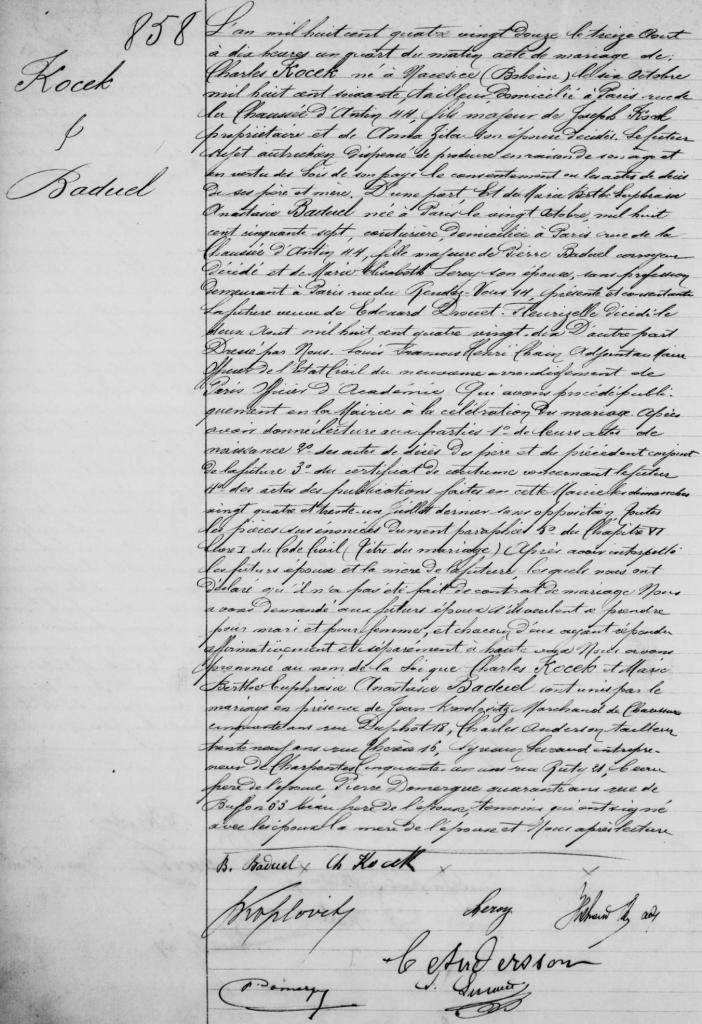 BADUEL Pierre - Acte de remariage de Marie Berthe avec KOSEK 1892