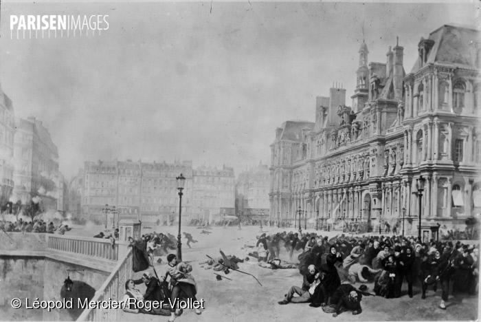 Commune de Paris, 1871. Combats sur la place de l'Hôtel de Ville.