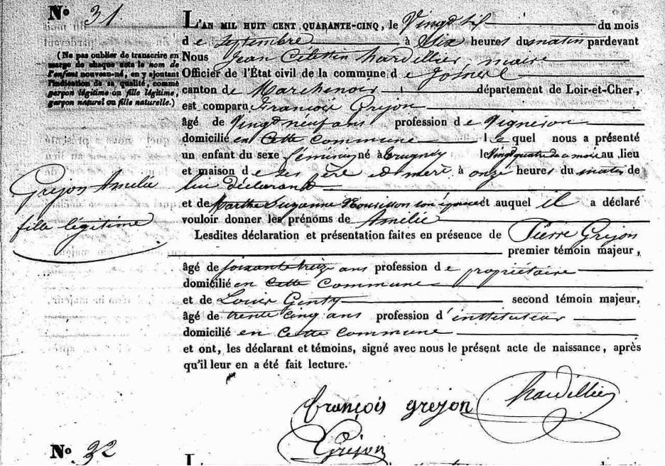 GREJON Amélie - Acte de naissance