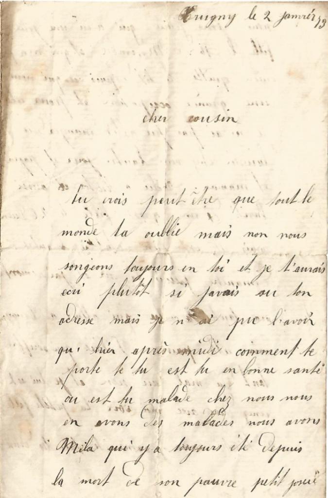 GREJON Amélie - Lettre de Léontine Page 1 1873