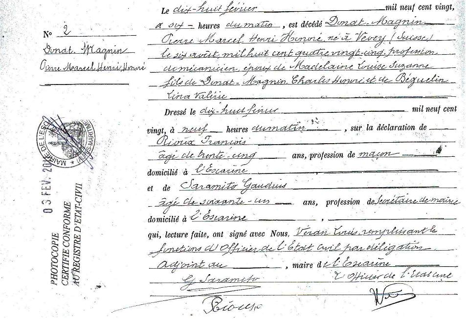 Acte de décès Marcel DONAT-MAGNIN