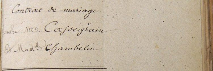 Le contrat de mariage d'Eugène Cassegrain
