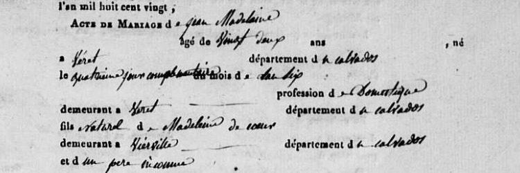 Le nom de famille de Jean Madelaine